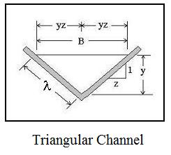 hydraulic radius open channel flow diagram for triangular channel