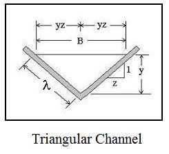 hydraulic radius open channel flow diagram for triangular channel