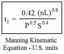 Manning kinematic equation for watershed time of concentration calculation