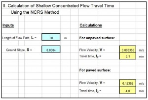 spreadsheet for watershed time of concentration