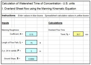 watershed time of concentration spreadsheet