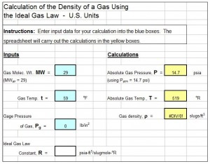 air density at temperature and pressue calculator spreadsheet