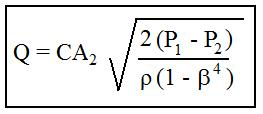 Equation for venturi meter ISO 5167 calculations