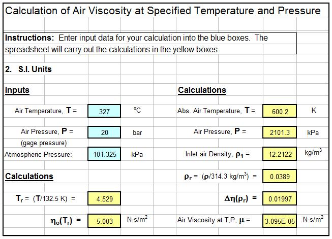 Air Viscosity Temperature Calculator Spreadsheet