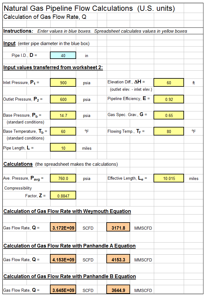Natural Gas Pipeline Flow Calculation