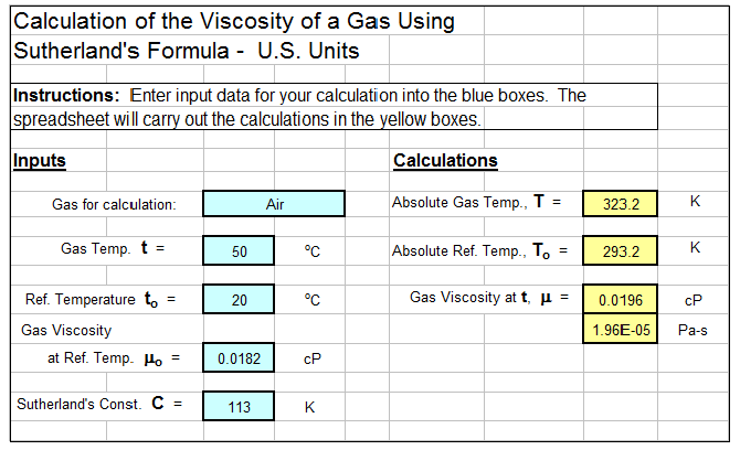 Sutherland Formula Viscosity Calculator Spreadsheet