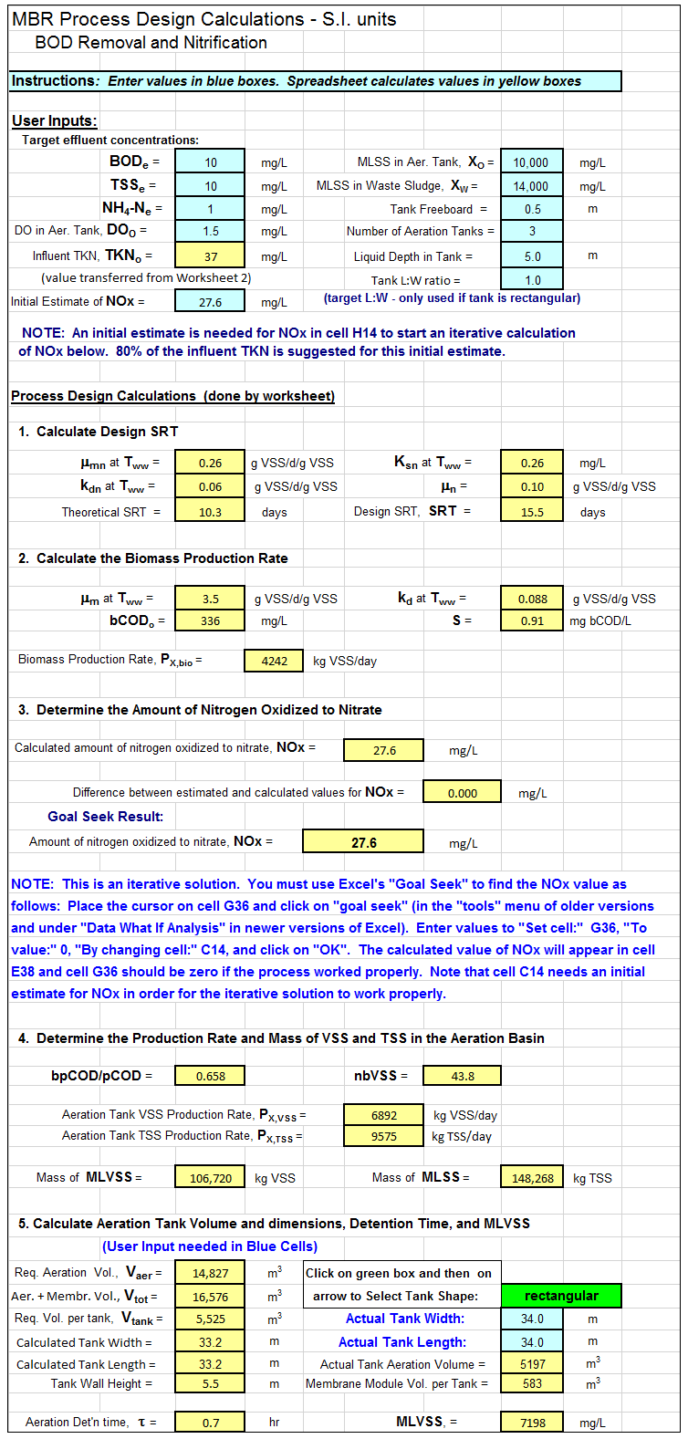 Membrane Bioreactor Wastewater Treatment Calculations Spreadsheet Screenshot
