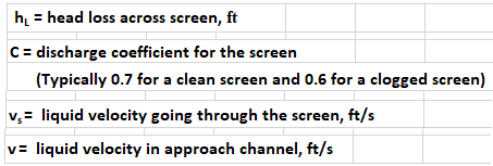 Wastewater Screening Calculations Spreadsheet variables